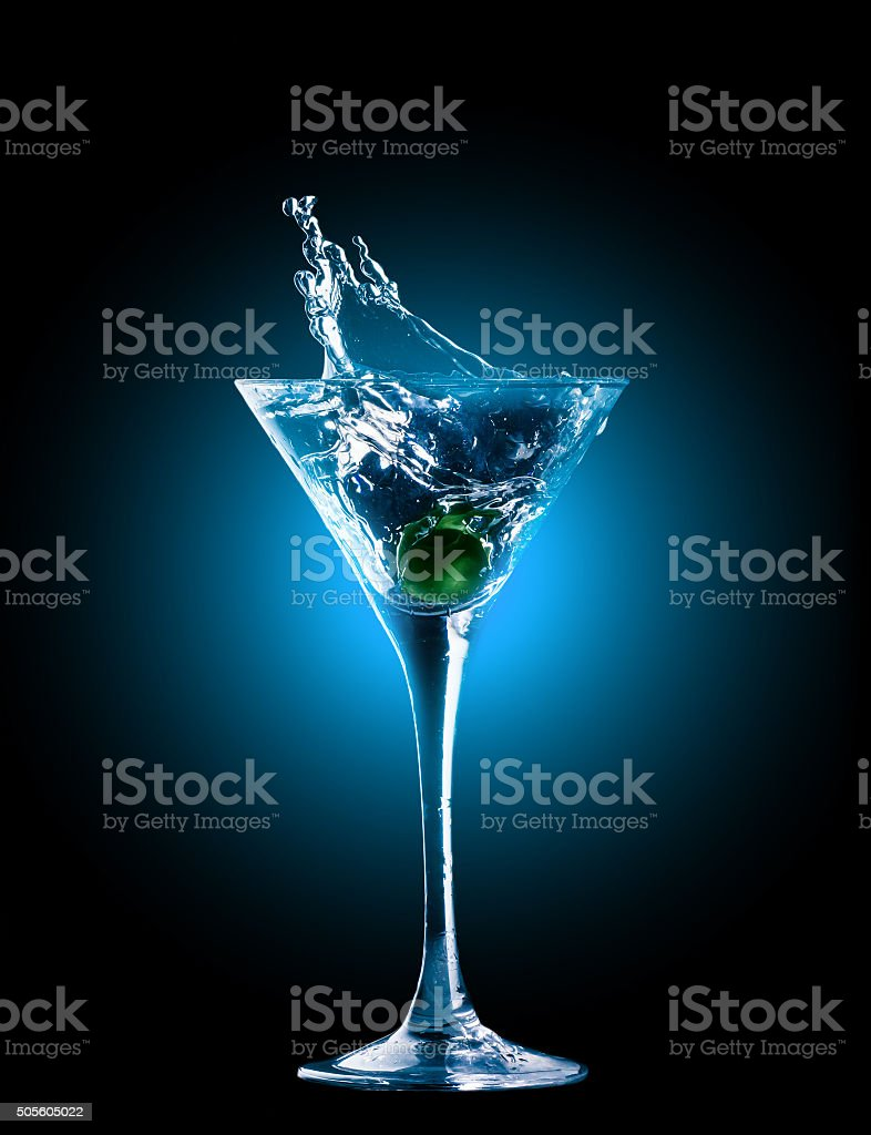 colourful cocktail with splashes stock photo
