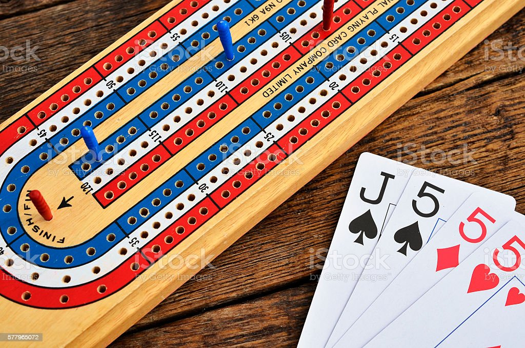 Colourful Cribbage Board and Card stock photo