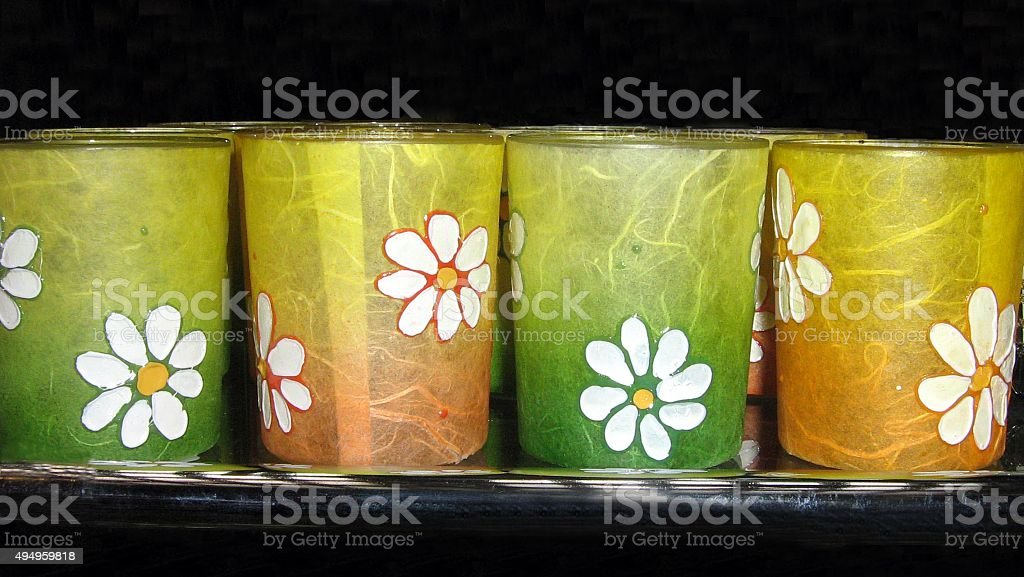 Colourful cups or glasses with floral pattern stock photo
