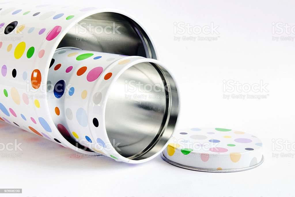 Colourful cyclindrical cans royalty-free stock photo