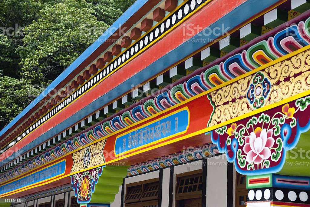 Colourful Detail of Buddhist monastery Sikkim royalty-free stock photo