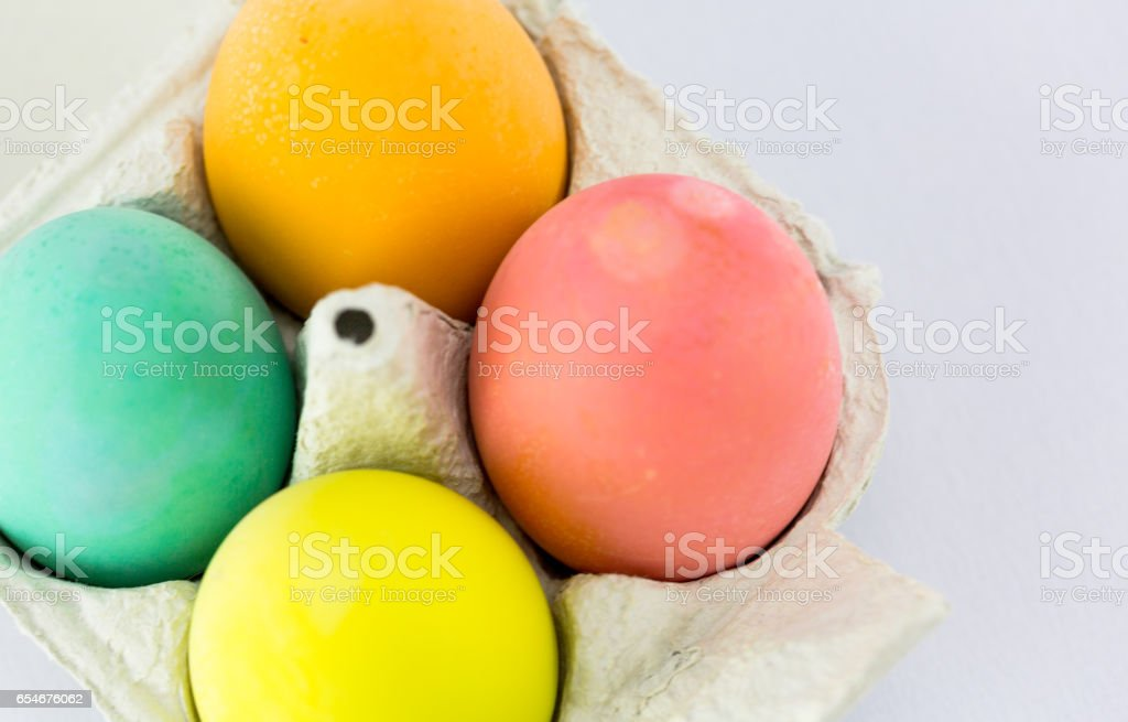 Colourful eggs painted for Easter celebration stock photo