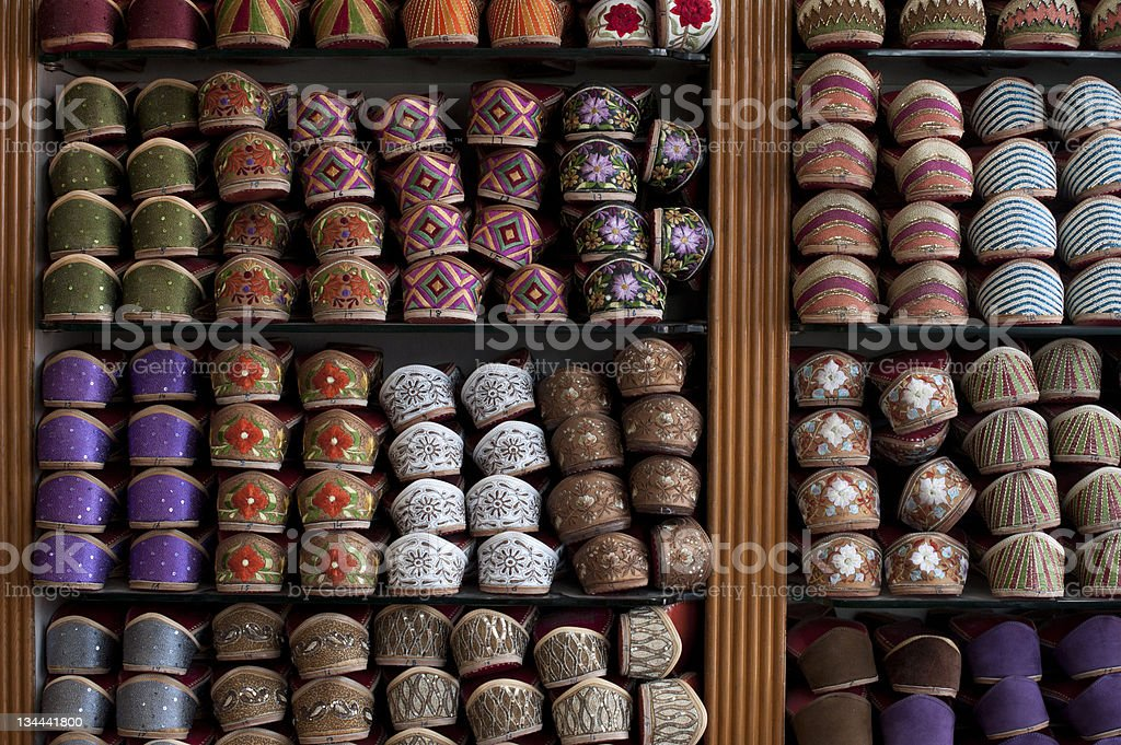Colourful embroidered Indian shoes on display royalty-free stock photo