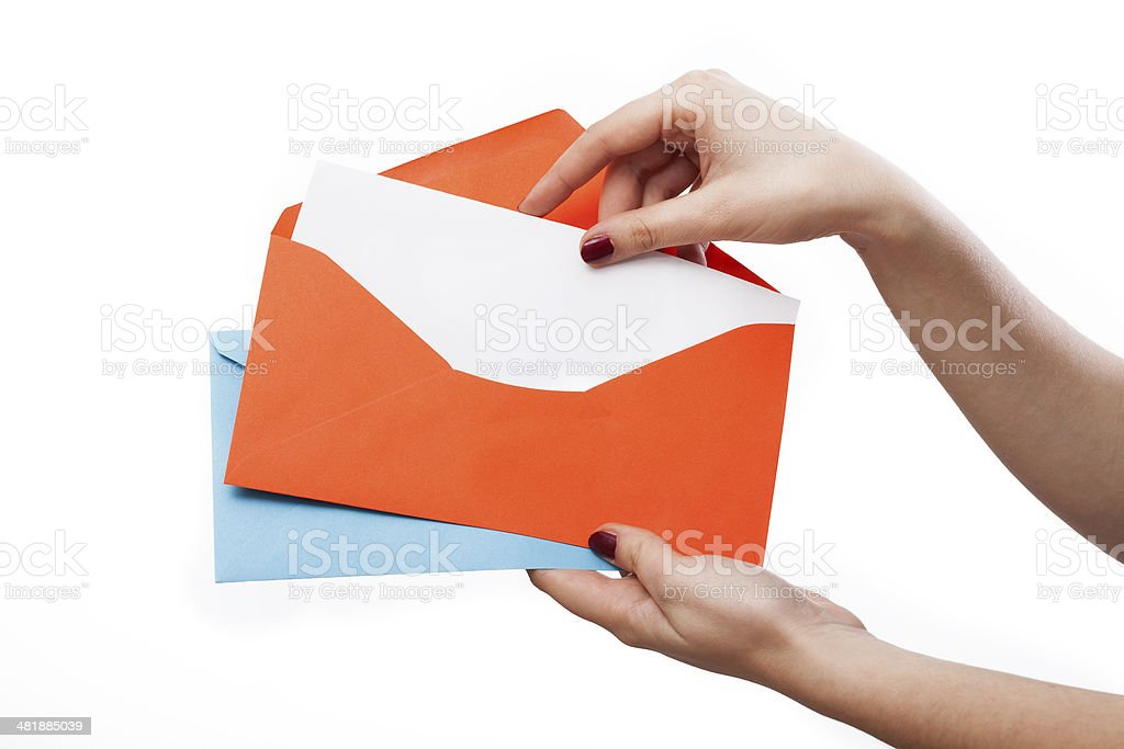 Colourful envelopes and white letter stock photo