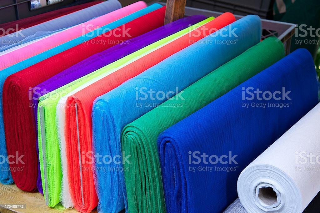 Colourful fabrics stock photo