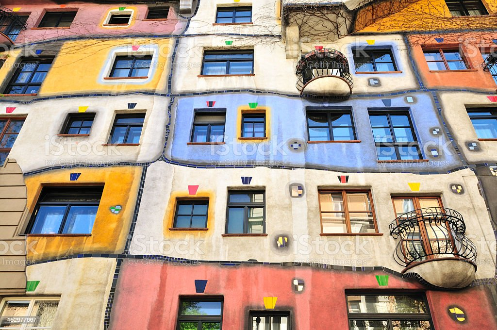 Colourful Facade of the Hundertwasser House, Hundertwasserhaus, Vienna, Austria stock photo