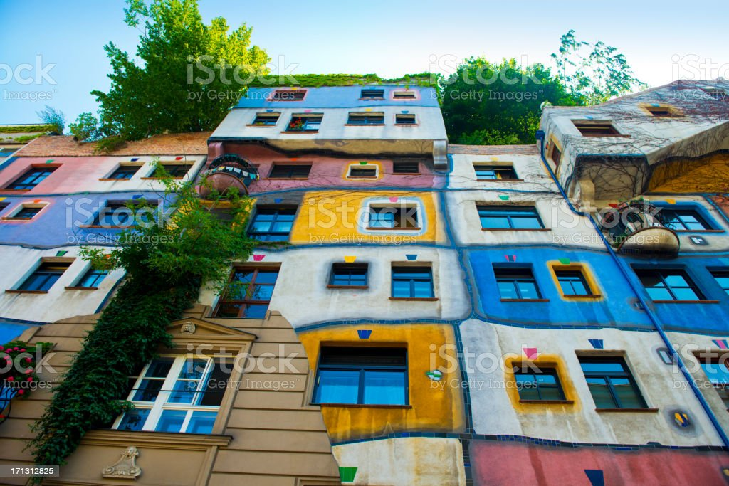 Colourful Facade of the Hundertwasser House in Vienna stock photo