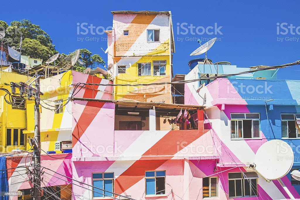Colourful favela buildings. stock photo