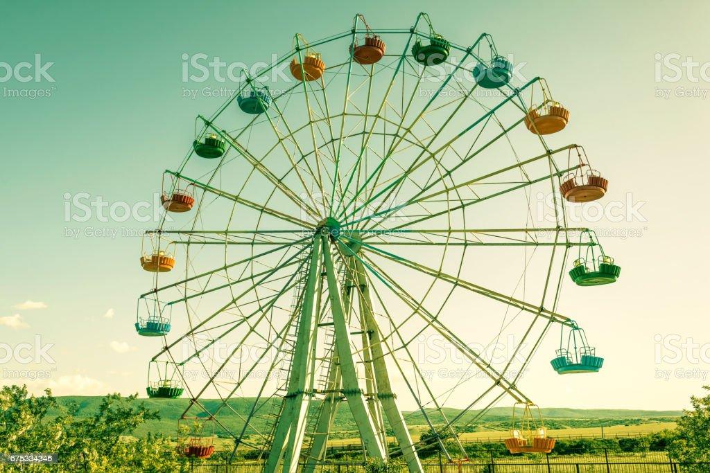 A colourful ferris wheel stock photo