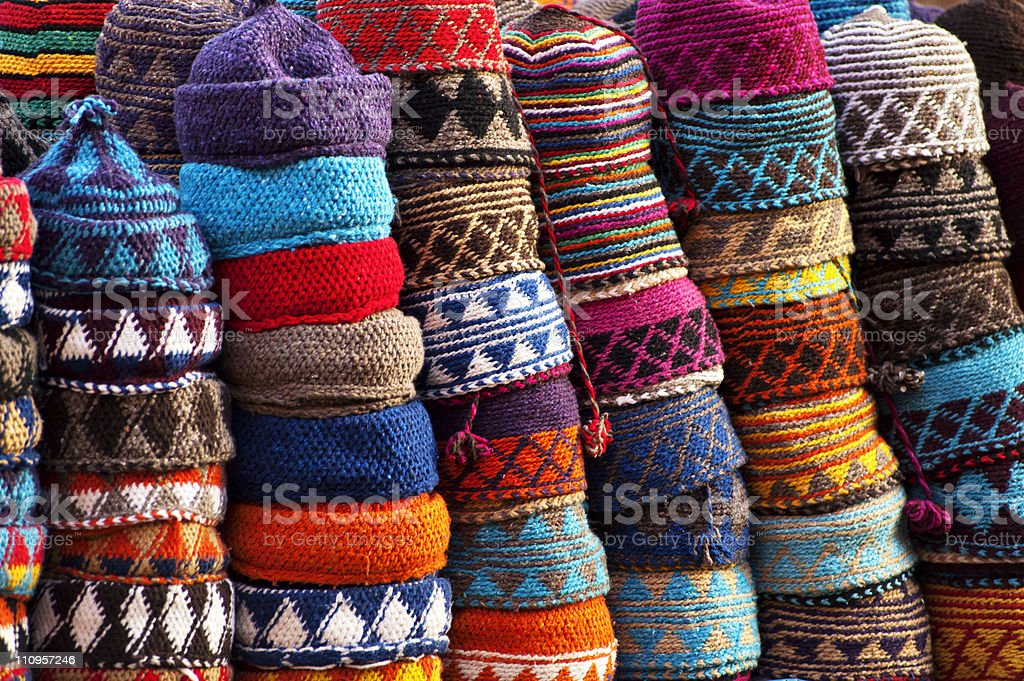 Colourful fez market stall in the Marrakech souk stock photo