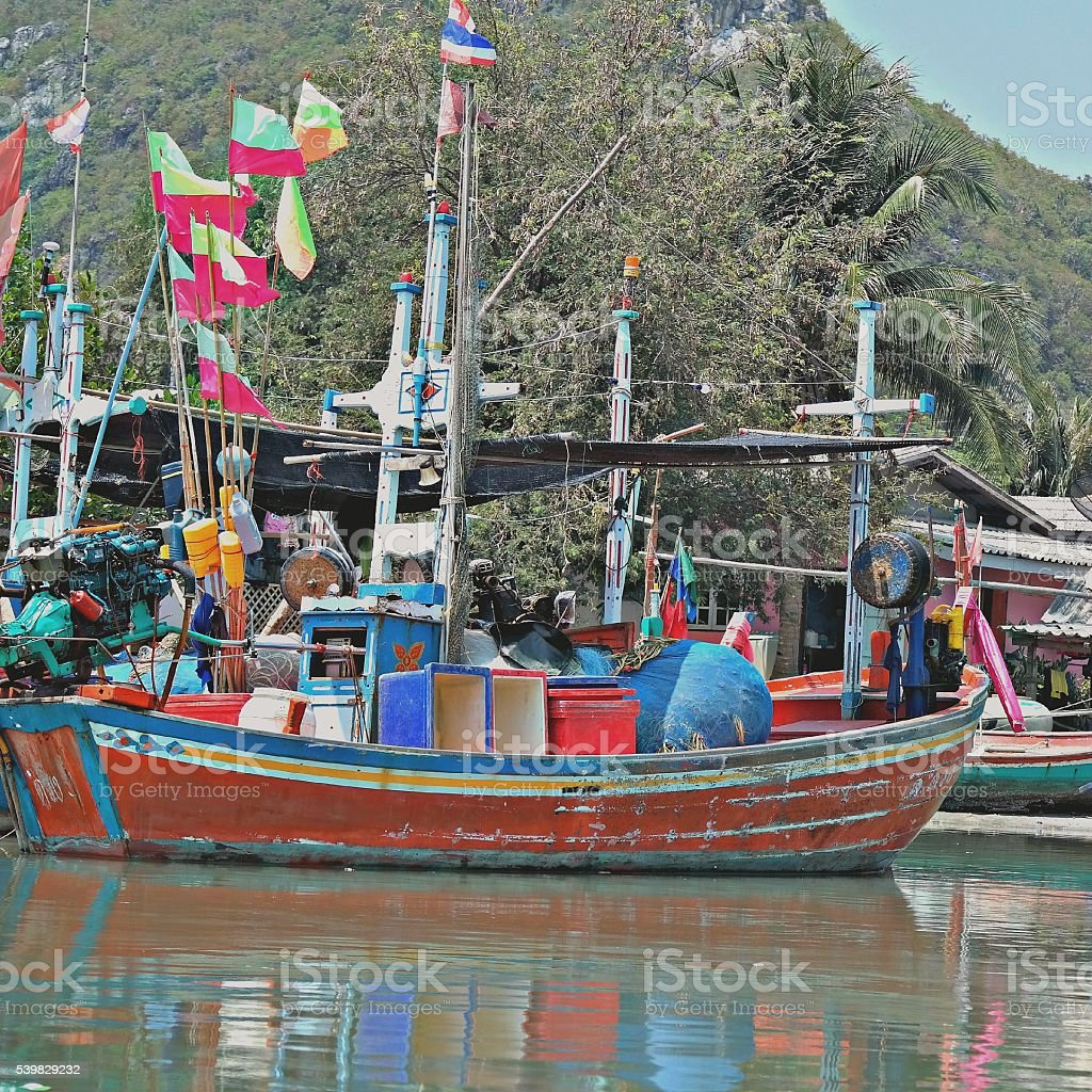 Colourful Fishing Boats in Bang Pu, Thailand stock photo