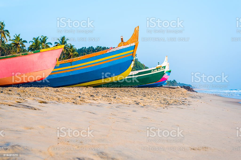 Colourful fishing boats stock photo