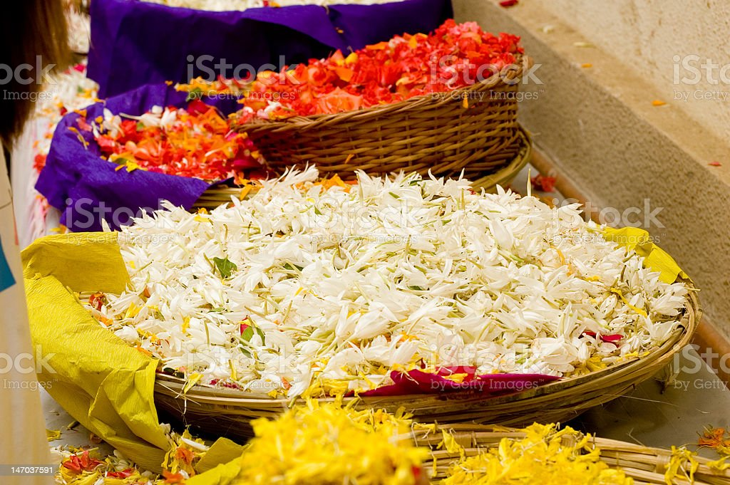 Colourful flower petals in baskets royalty-free stock photo