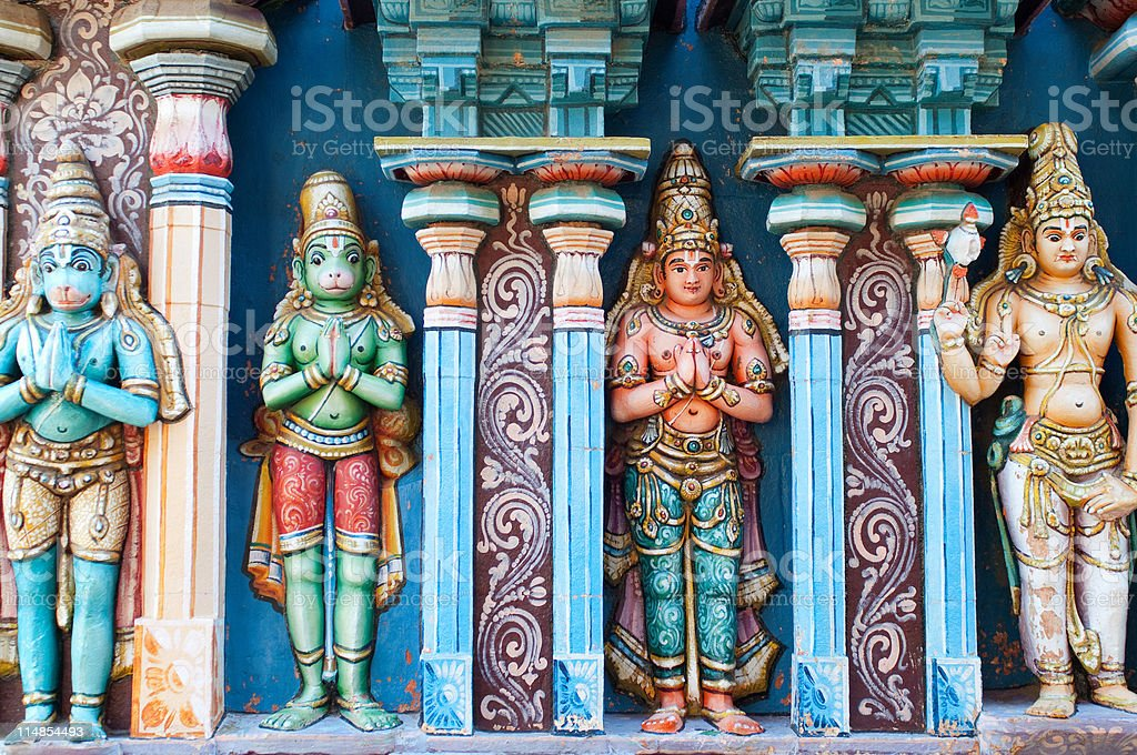 Colourful frieze detail at the Sri Ranganathaswamy temple, Trichy, Tamil Nadu stock photo