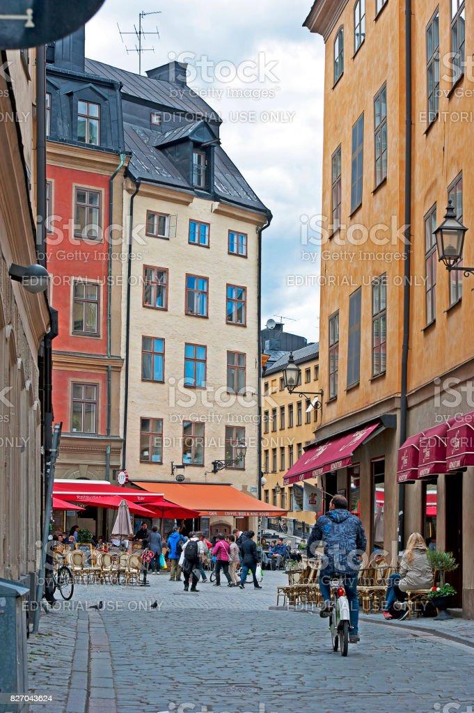 Colourful Gamla Stan, Stockholm, Sweden stock photo