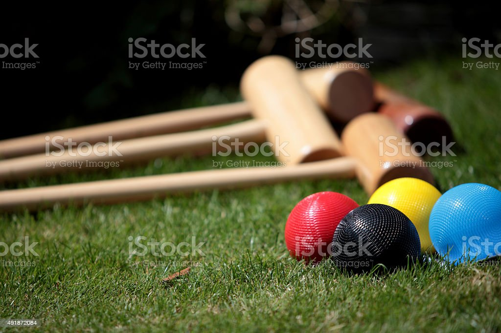 Colourful Garden Croquet Set stock photo