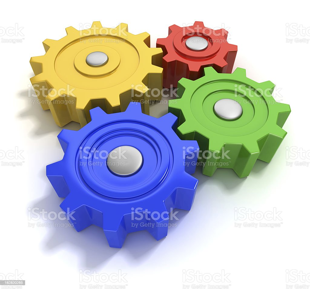Colourful gears stock photo