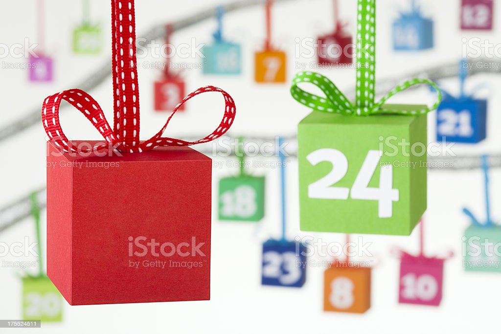 Colourful gift boxes advent calendar stock photo
