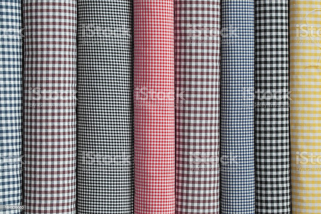 Colourful Gingham Tablecloth Rolls royalty-free stock photo