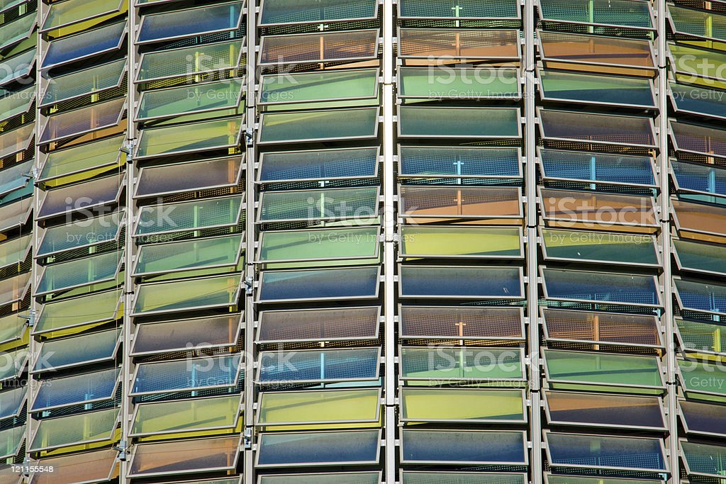 Colourful glass facade of a parking garage royalty-free stock photo