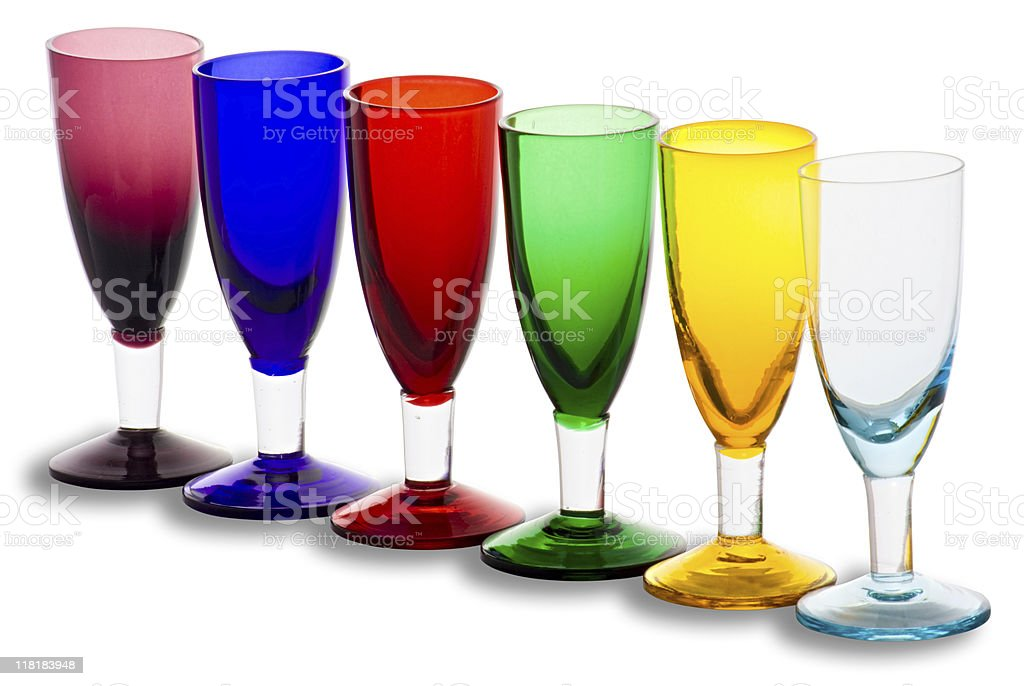 Colourful glasses with clipping path on white background stock photo