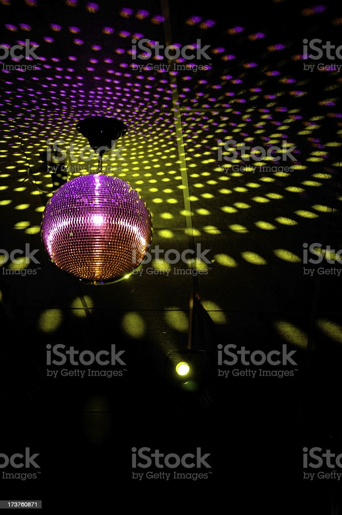 Colourful glitter mirrorball in disco 3 royalty-free stock photo