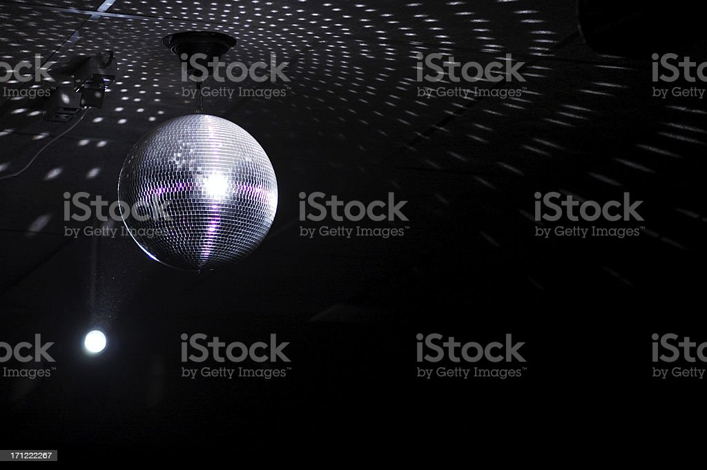 Colourful glitter mirrorball in disco new 3 stock photo