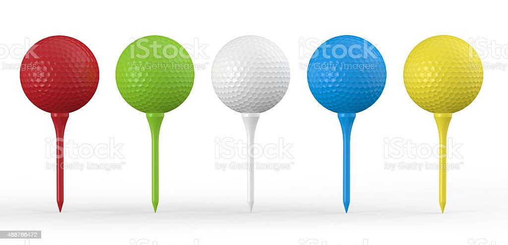 Colourful Golf Balls On Same Colour Tees stock photo
