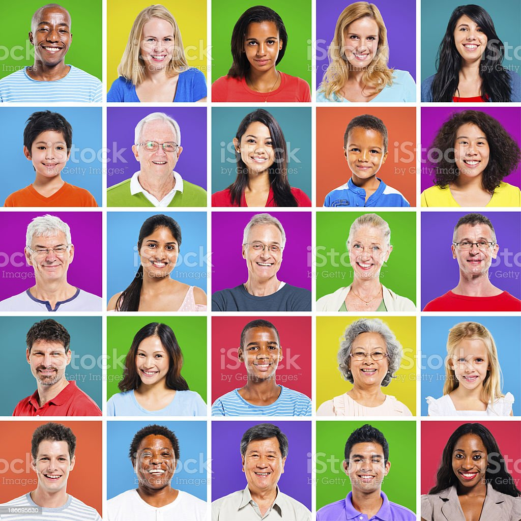 Colourful Grid with Facial Expressions royalty-free stock photo