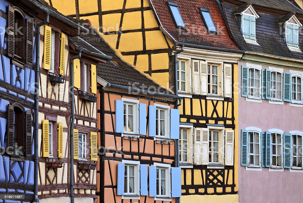 Colourful half timbered houses, Colmar, Alsace stock photo