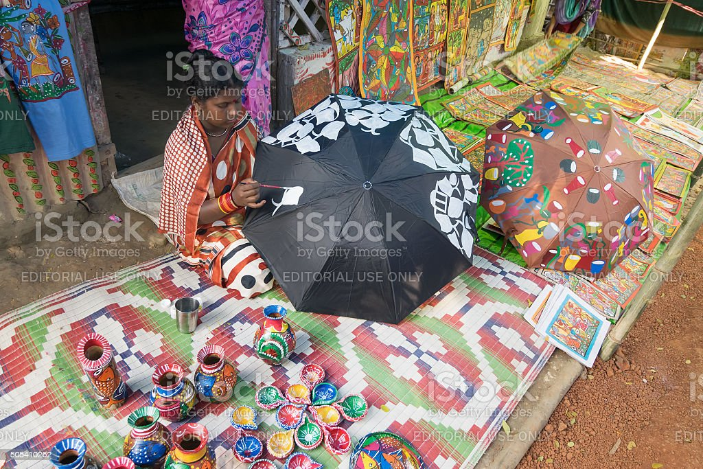 Colourful handicrafts prepared by Indian rural woman worker. stock photo