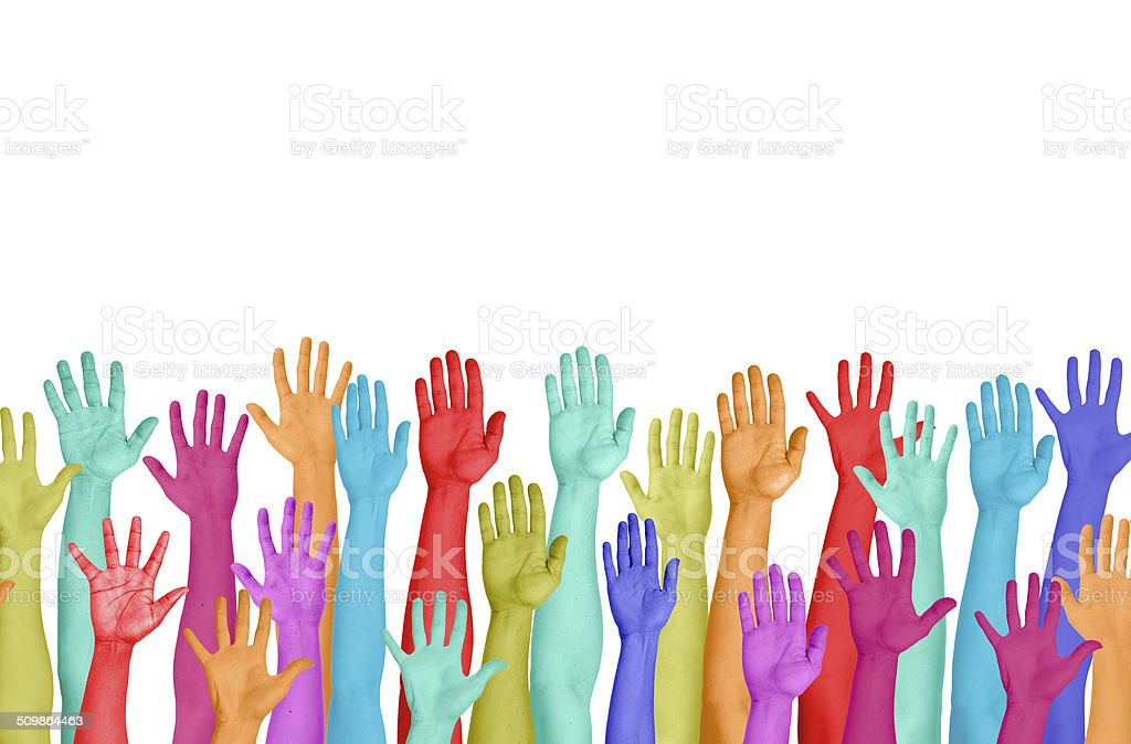 Colourful Hands Raised On White Background stock photo
