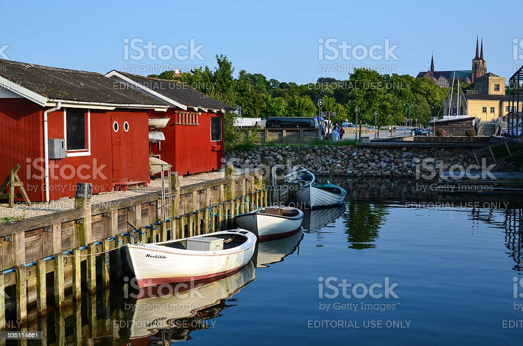 Colourful harbour view stock photo