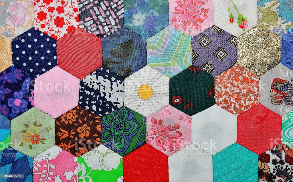 Colourful hexagonal patchwork stock photo