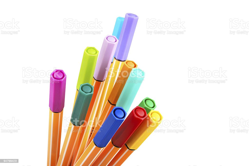 12 colourful highliter pens royalty-free stock photo