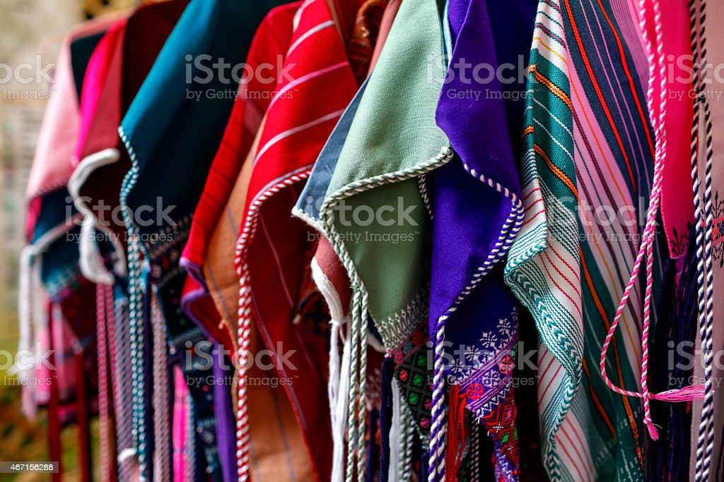 Colourful hill tribe fabric royalty-free stock photo