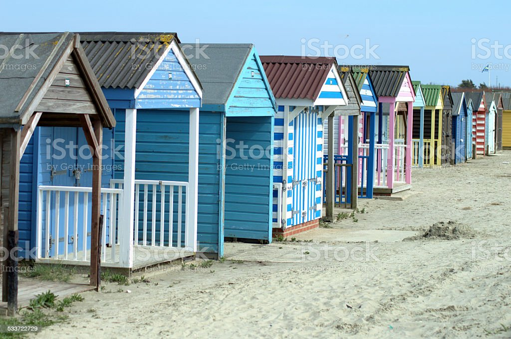 Colourful Holiday Beach Huts stock photo