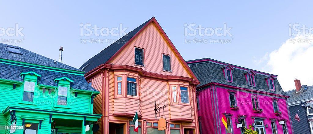 Colourful Homes and Businesses, Lunenburg Nova Scotia. stock photo