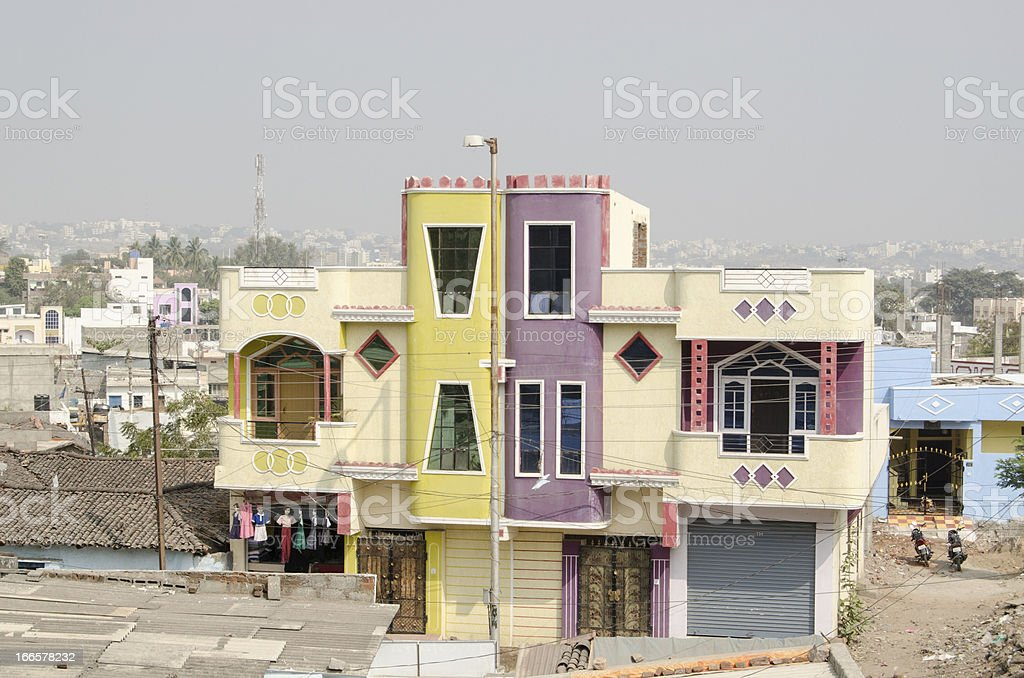 Colourful homes, Hyderabad stock photo