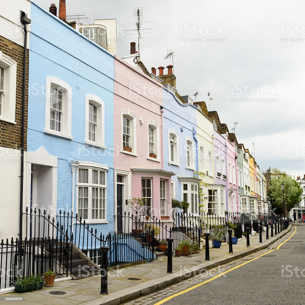 Colourful Homes in Chelsea, London stock photo