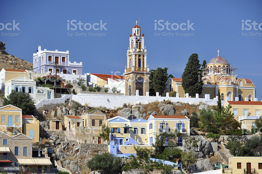 Colourful homes in Symi stock photo