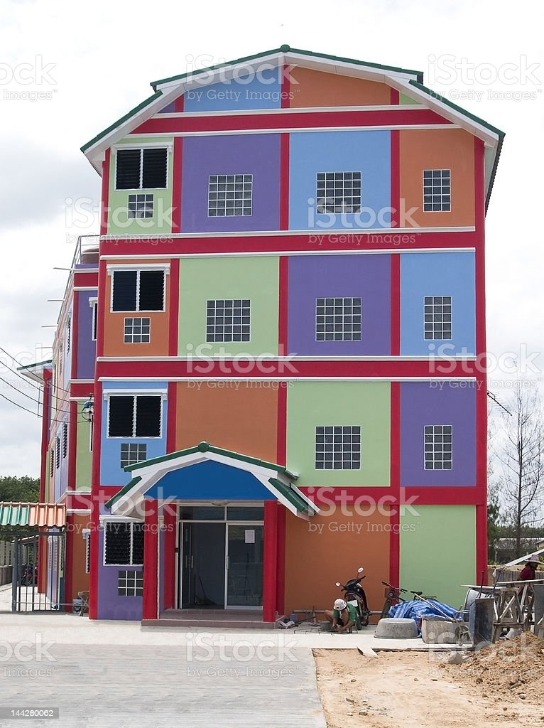 Colourful house stock photo