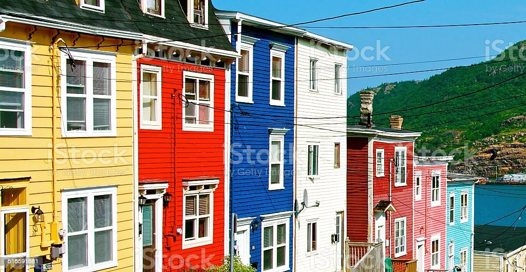 Colourful houses all in a row. stock photo