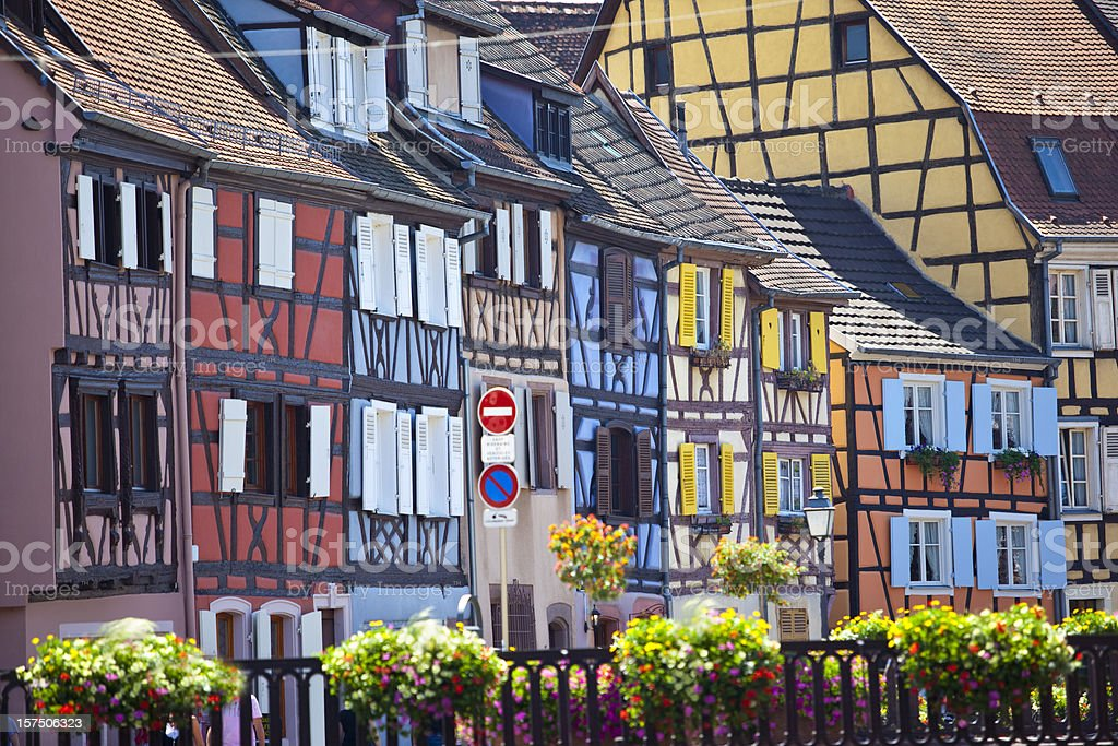 Colourful houses in Colmar France stock photo