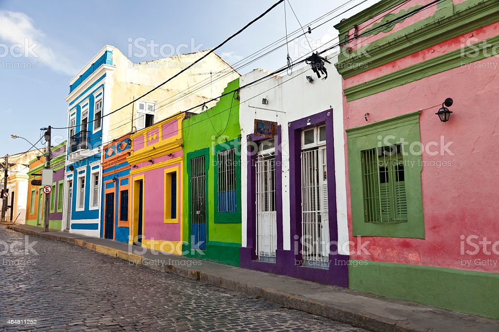 Colourful houses in historic town Olinda stock photo