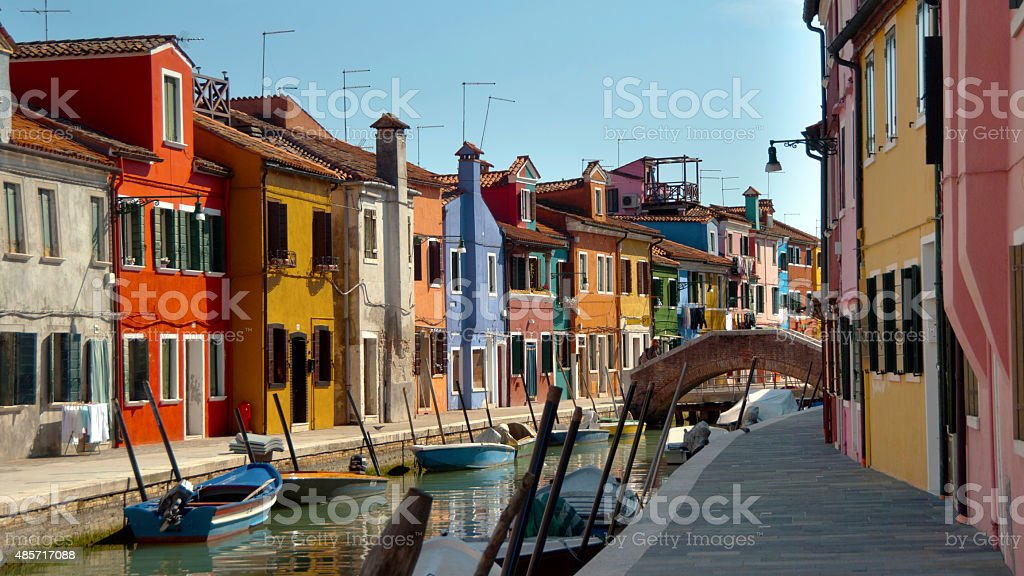 Colourful houses in the village of Burano, Venice, Italy stock photo