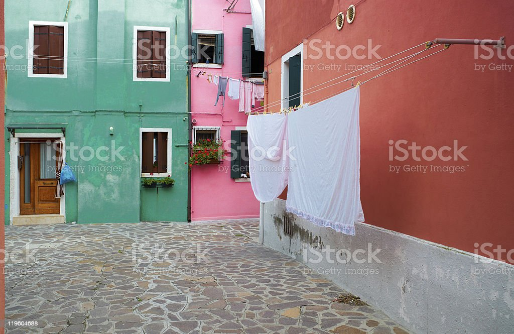 Colourful houses of Burano. Italy stock photo