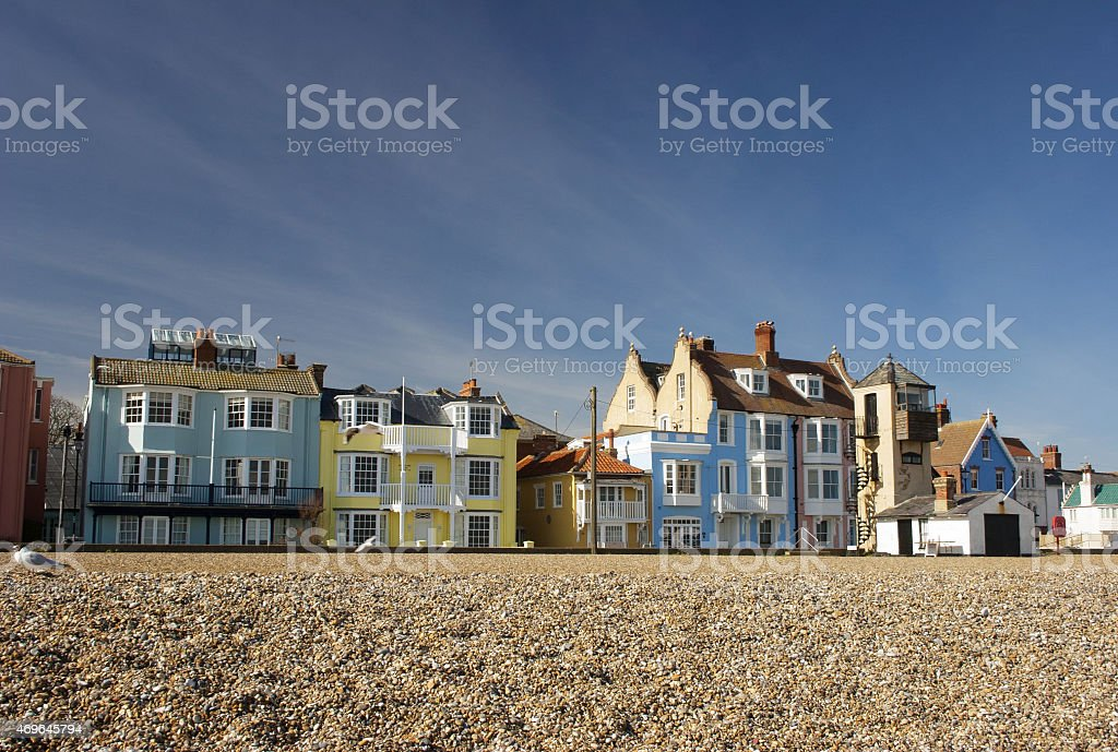 Colourful houses on Aldeburgh seafront, Suffolk stock photo