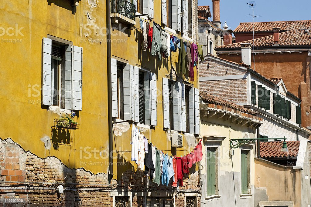 Colourful houses with hanging laundry in Venice, Italy royalty-free stock photo