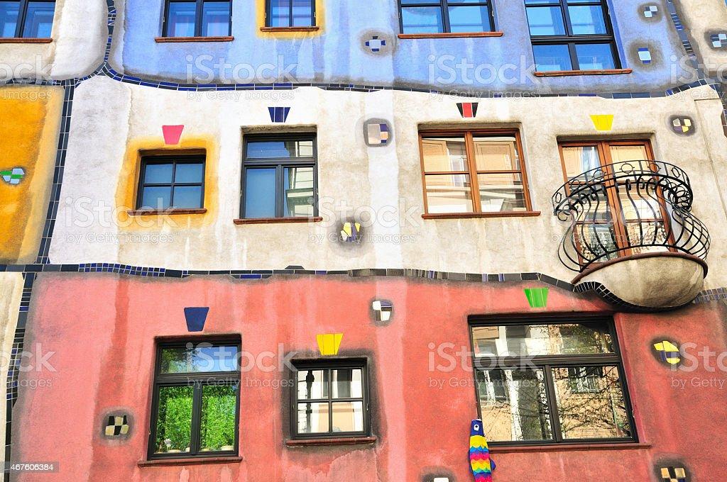Colourful Hundertwasser House, Hundertwasserhaus, Horizontal Detail, Vienna, Austria stock photo